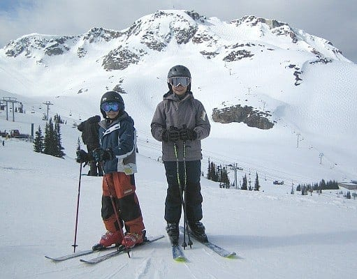 Kids skiing at Whistler