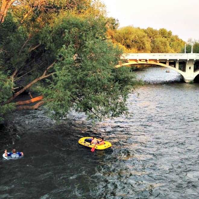 Floating down the Boise River in summer
