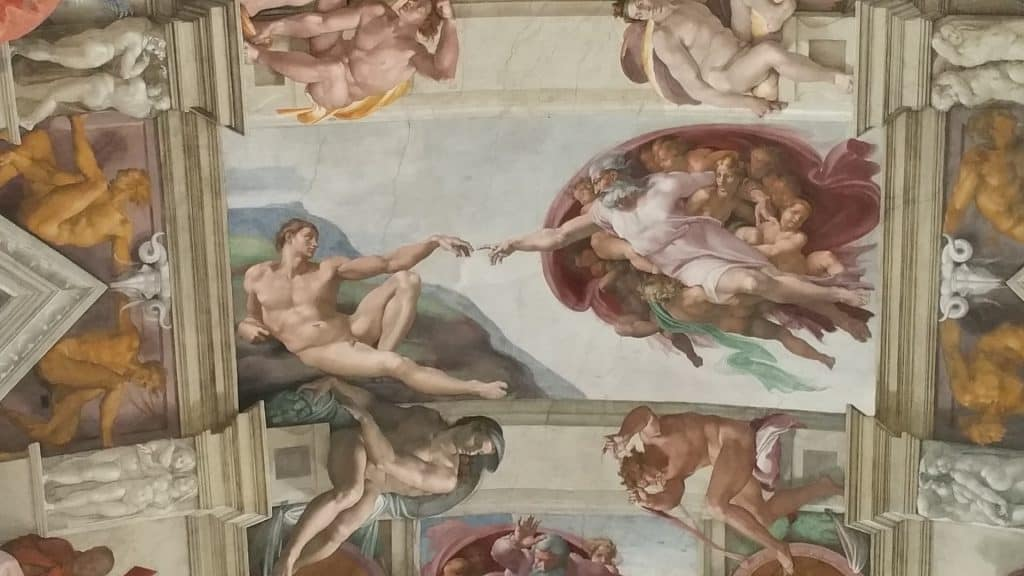 figures of Sistine chapel ceiling vatican museum rome italy