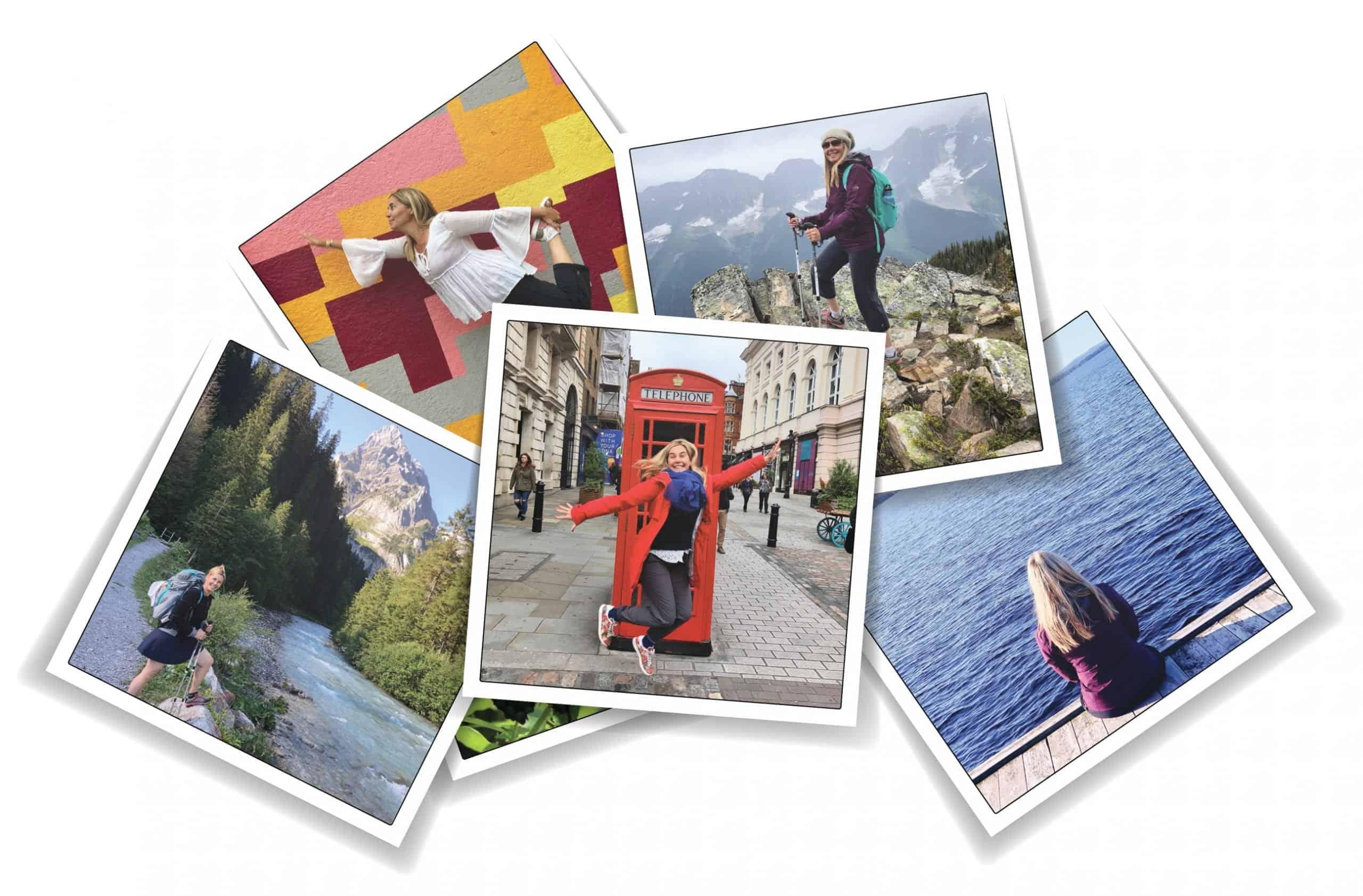Collage of polaroid frame photos with Claudia Laroye on her travels around the world.