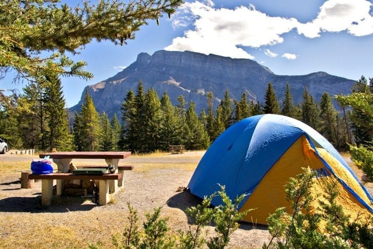 Summer season is camping Banff season. How to pitch a tent and plan your camping adventure in beautiful Banff National Park in Alberta, Canada.