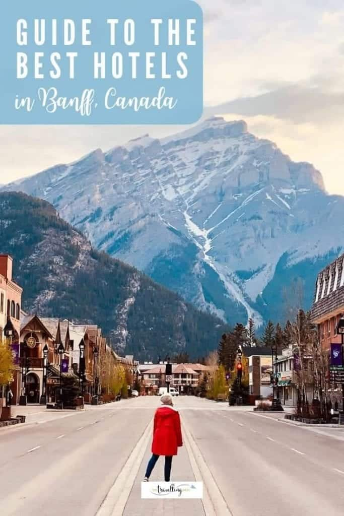 lady standing on banff avenue at dawn