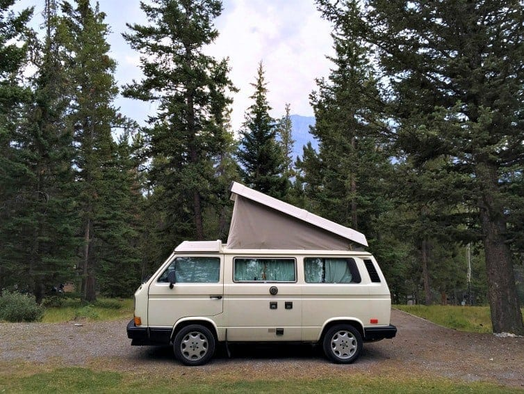 camper van in banff national park