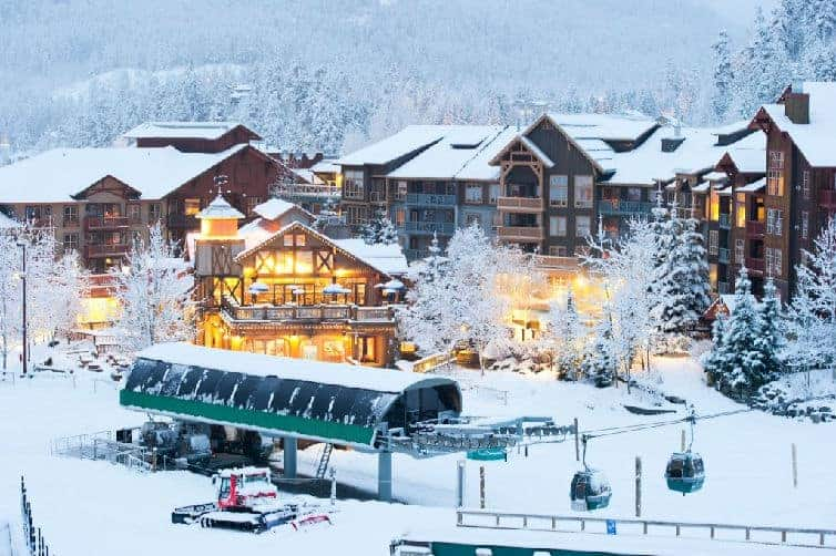 hotel lodge at whistler creekside in winter