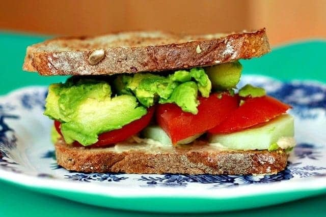 avocado and vegetable sandwich
