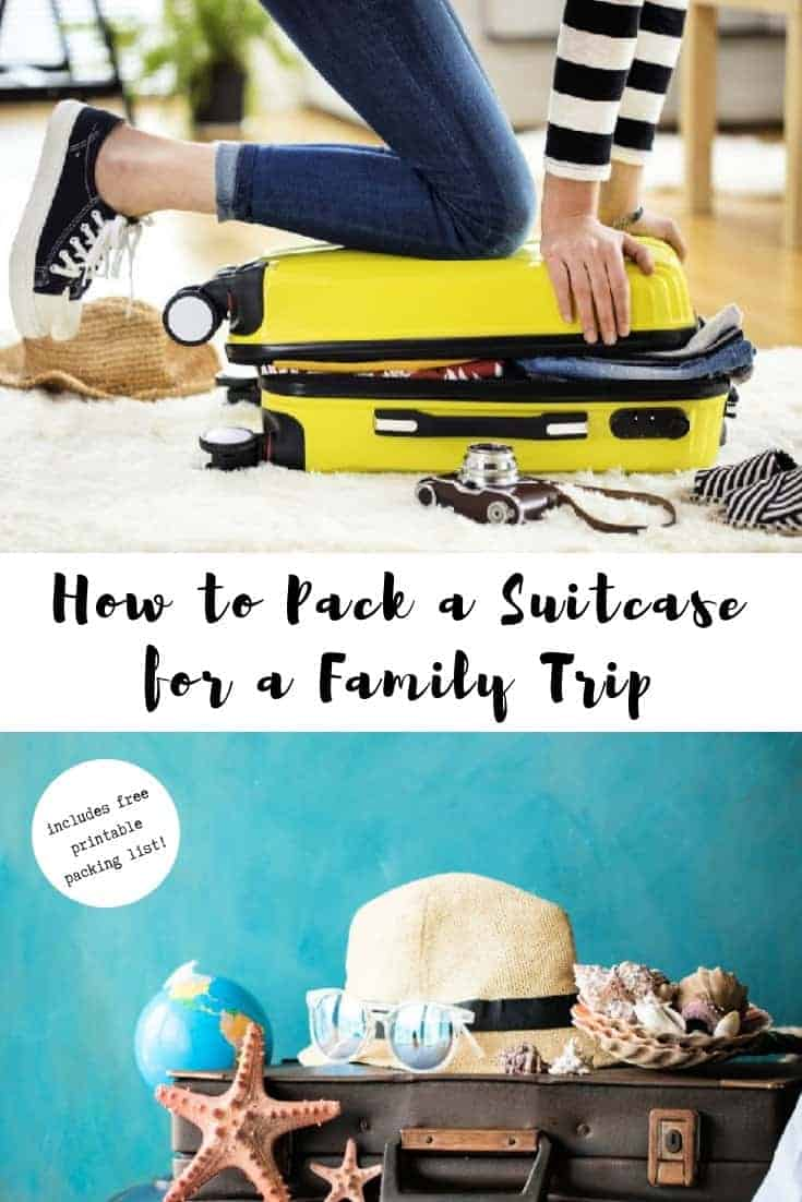 lady sitting on suitcase to pack it for family trip