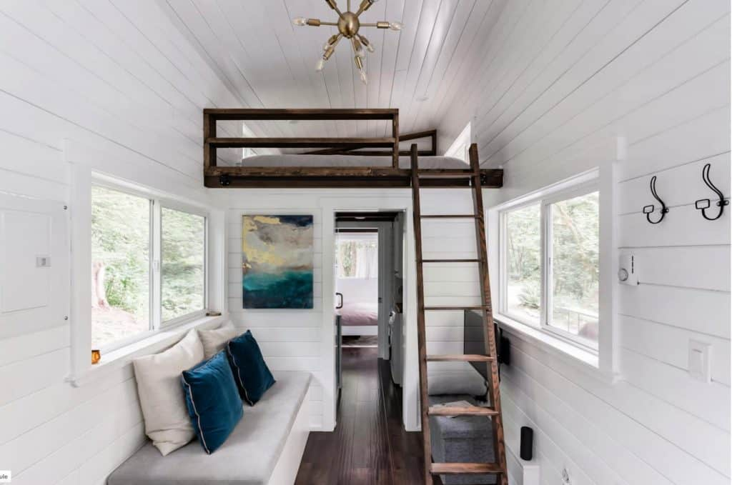 white walled interior of tiny home