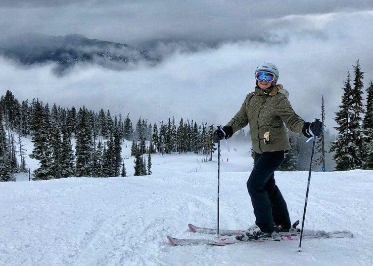 lady skiing at whistler