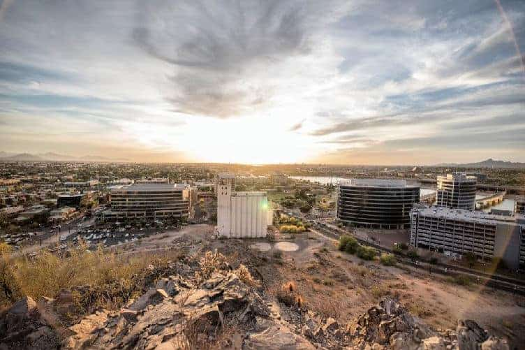 downtown tempe az at sunset
