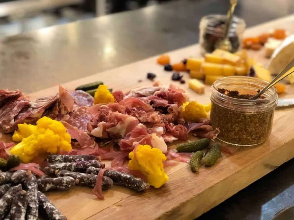 charcuterie board at banff restaurant