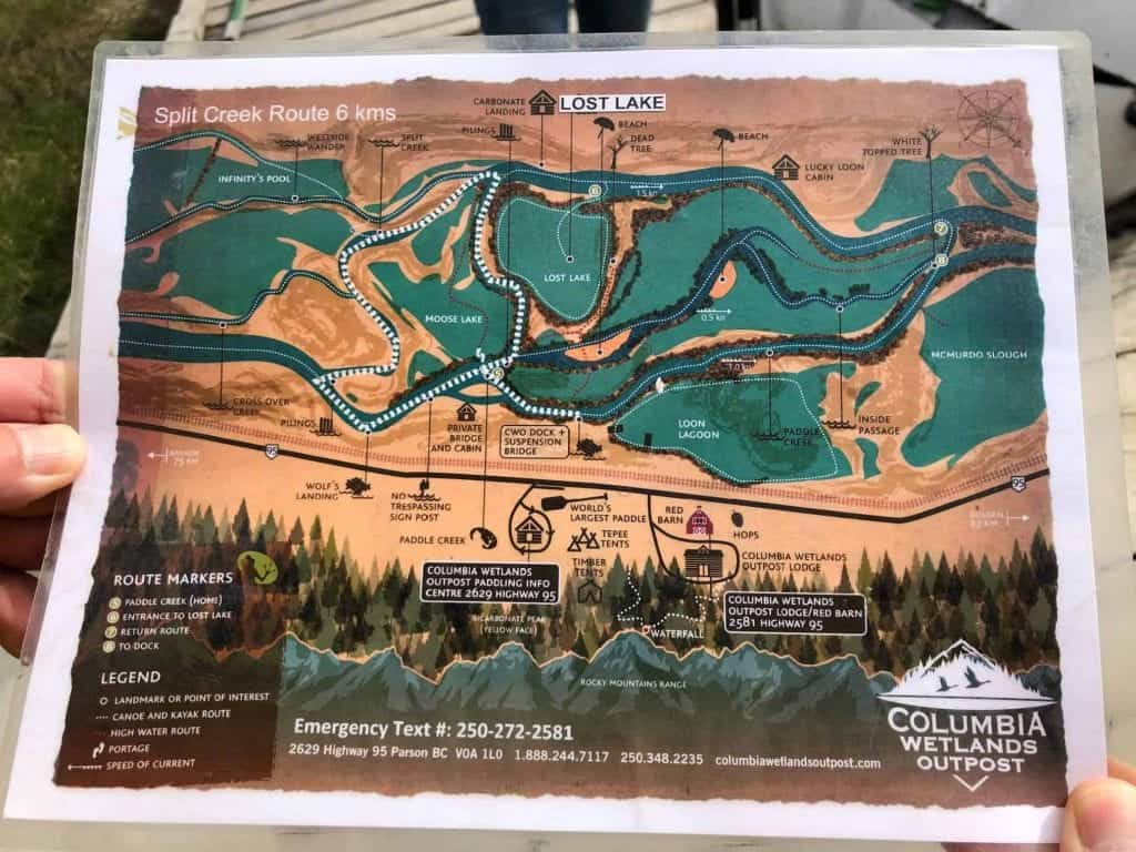 map of columbia river canoe route