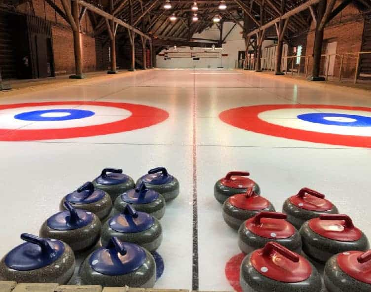 curling rocks on ice at montebello quebec