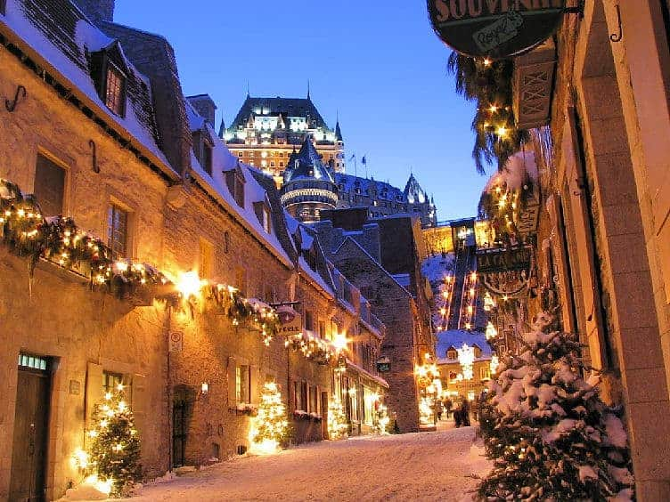 old town of quebec city at night with lights