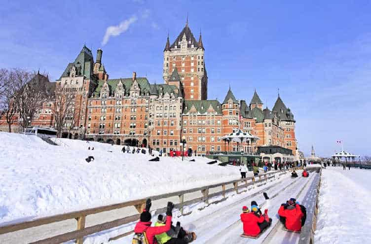 people sledding down hill in quebec city