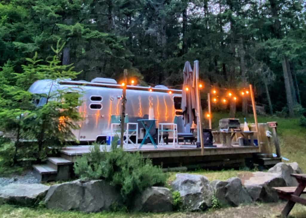 airstream at night at woods on pender